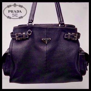 8e9949c8f07370 Prada Bags | Saffiano Cuir Double Trap Black Red Tote | Poshmark